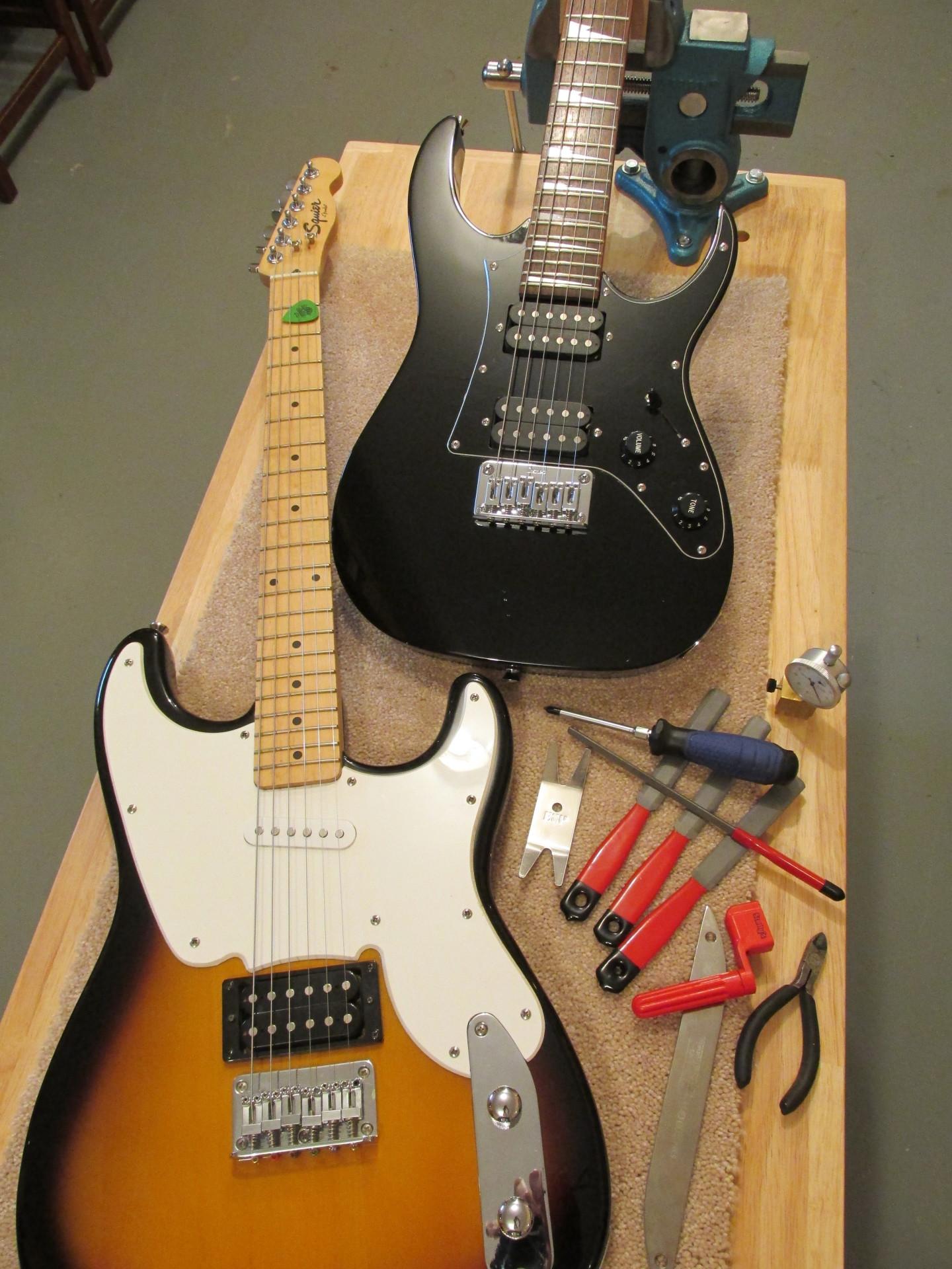 Entry-level guitars on The Fret Shack's workbench