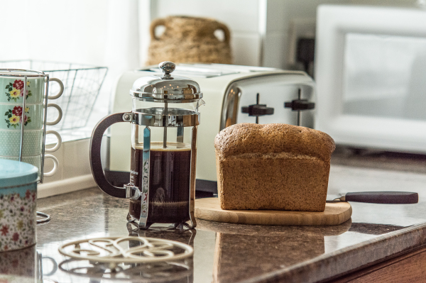 fresh Coffee and bread at Bumble Cottage