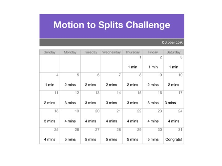 Motion to Splits Challenge Calendar