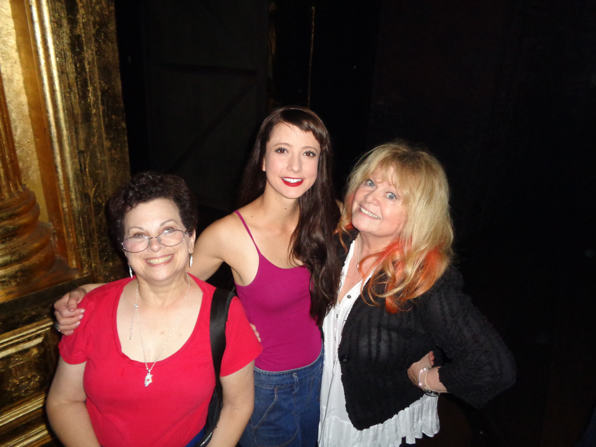 Katie Travis (Christine) with two fans, on the left Madame Half Mask (wearing her half mask pendent), and on the right, TV and stage star Sally Struthers.