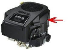 kohler engine model identification label location