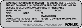 kohler engine model identification label