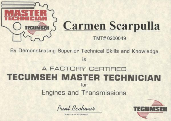 Tecumseh certification