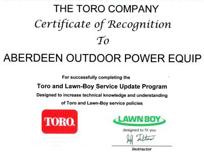 Toro Company certification