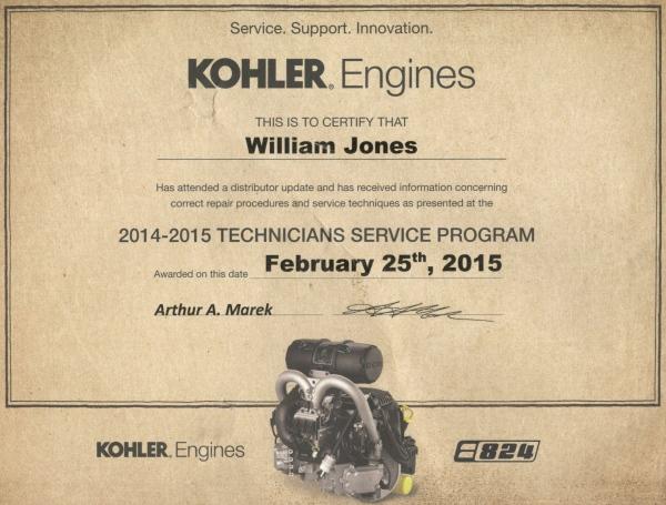Kohler Engines certification