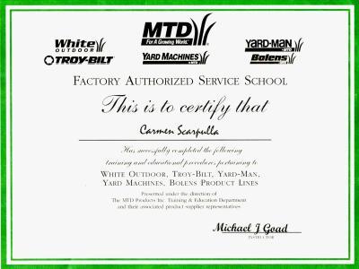 MTD, Troy-bilt, Yard-man, Bolens, and Yard Machines certifications