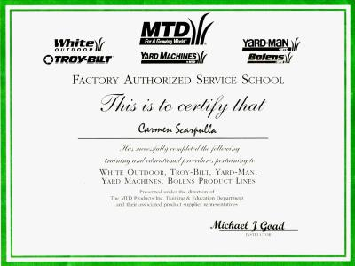 MTD, Troy-bilt, Yard-man, Bolens, and Yard Machines certifications