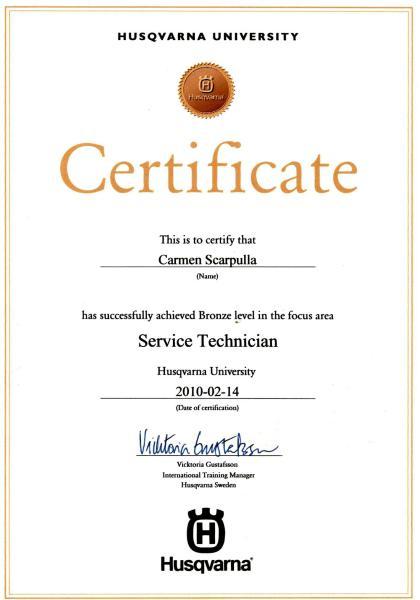 Husqvarna certification