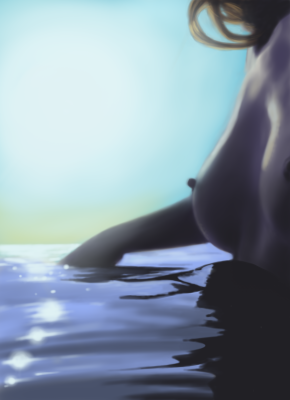 Digital painting of my Muse in the sea