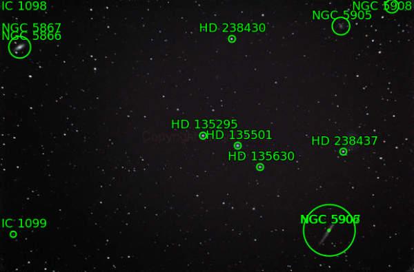 El cometa Lovejoy. Imagen anotada