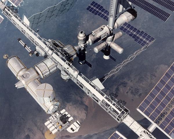La estación espacial internacional. Crédito: NASA. Identifier: C-1994-566