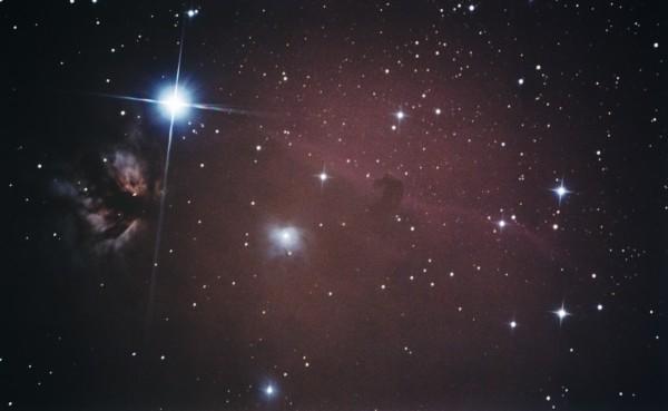Alnitak,  IC434 (Nebulosa de Cabeza de Caballo), IC435, NGC2023, NGC2024 (Nebulosa de la Flama) fotografiados con SW 150/750