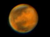Marte fotografiado con SW 150/750, EQ3-2, Webcam SPC900NC Barlow 3x+2x. Procesado Registax.