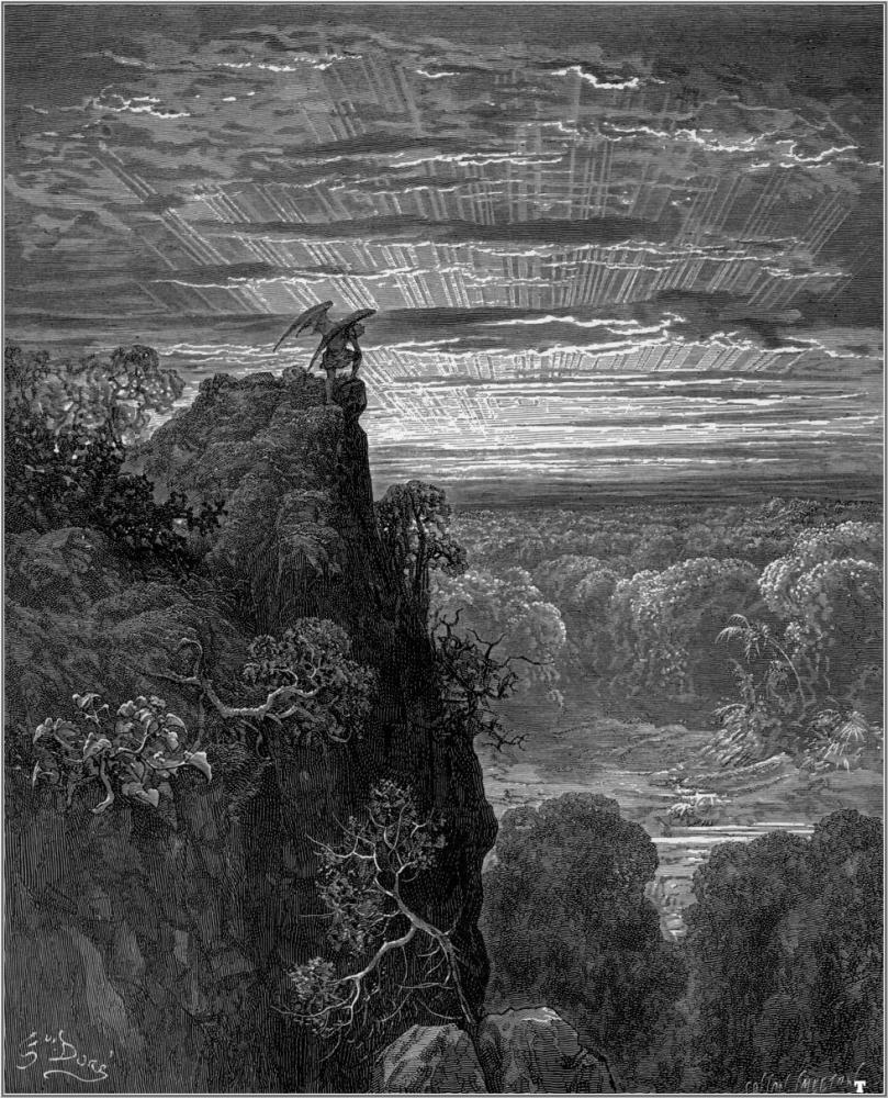 Satán contempla el Edén. Gustave Doré