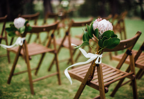 wedding ceremony chairs and styling