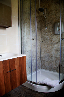 Walnut basin, power shower.
