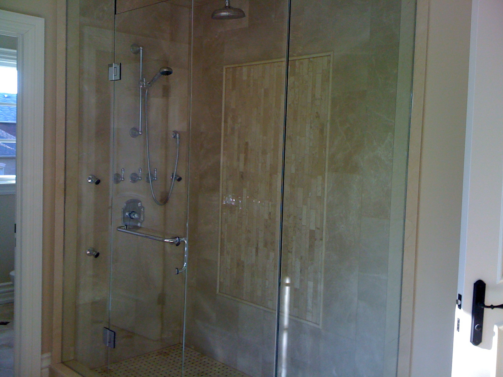 Steam Shower tiled in marble