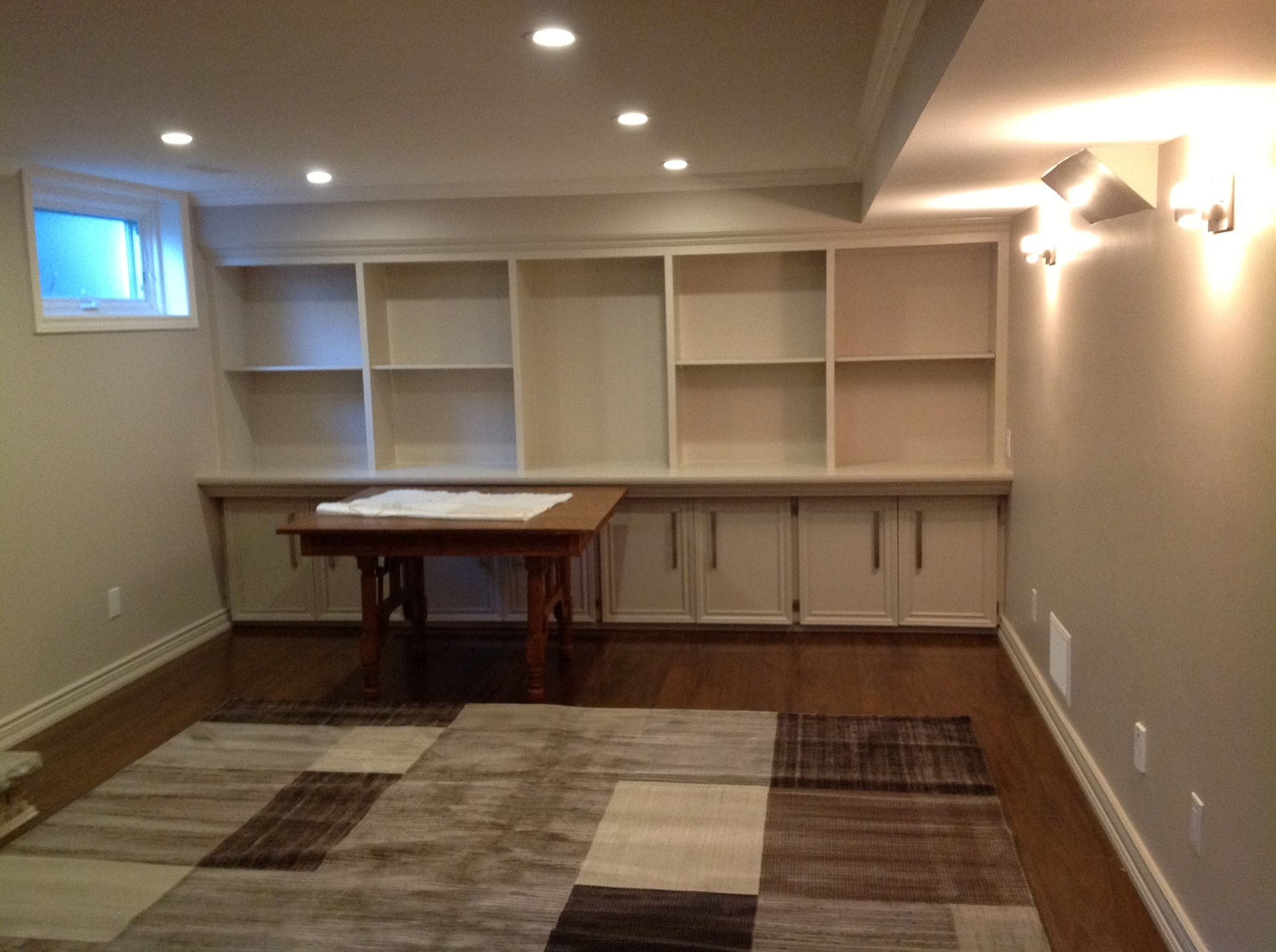 Built in cabinets with shelves and drawers
