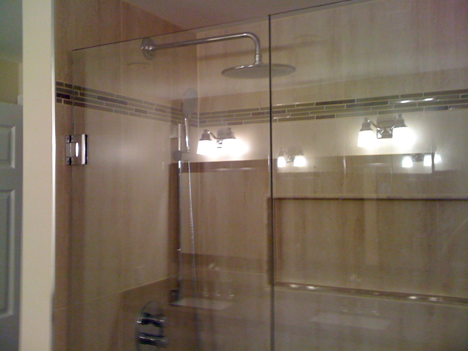 Stand up shower with glass door