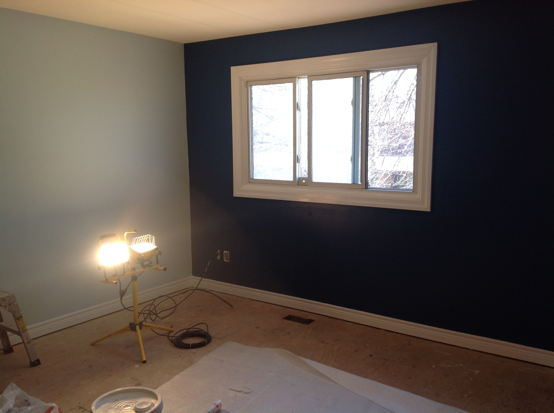 Bedroom with accented wall
