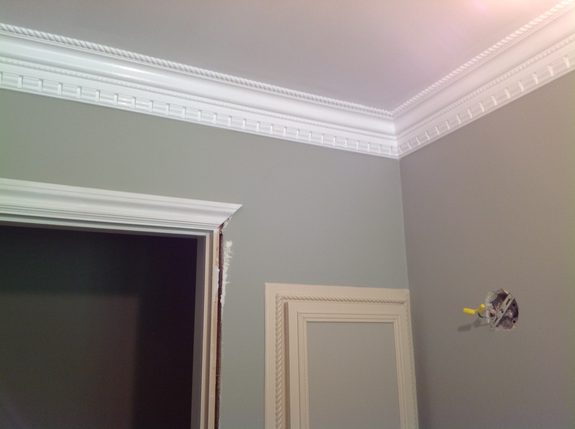 Three piece crown molding painted white