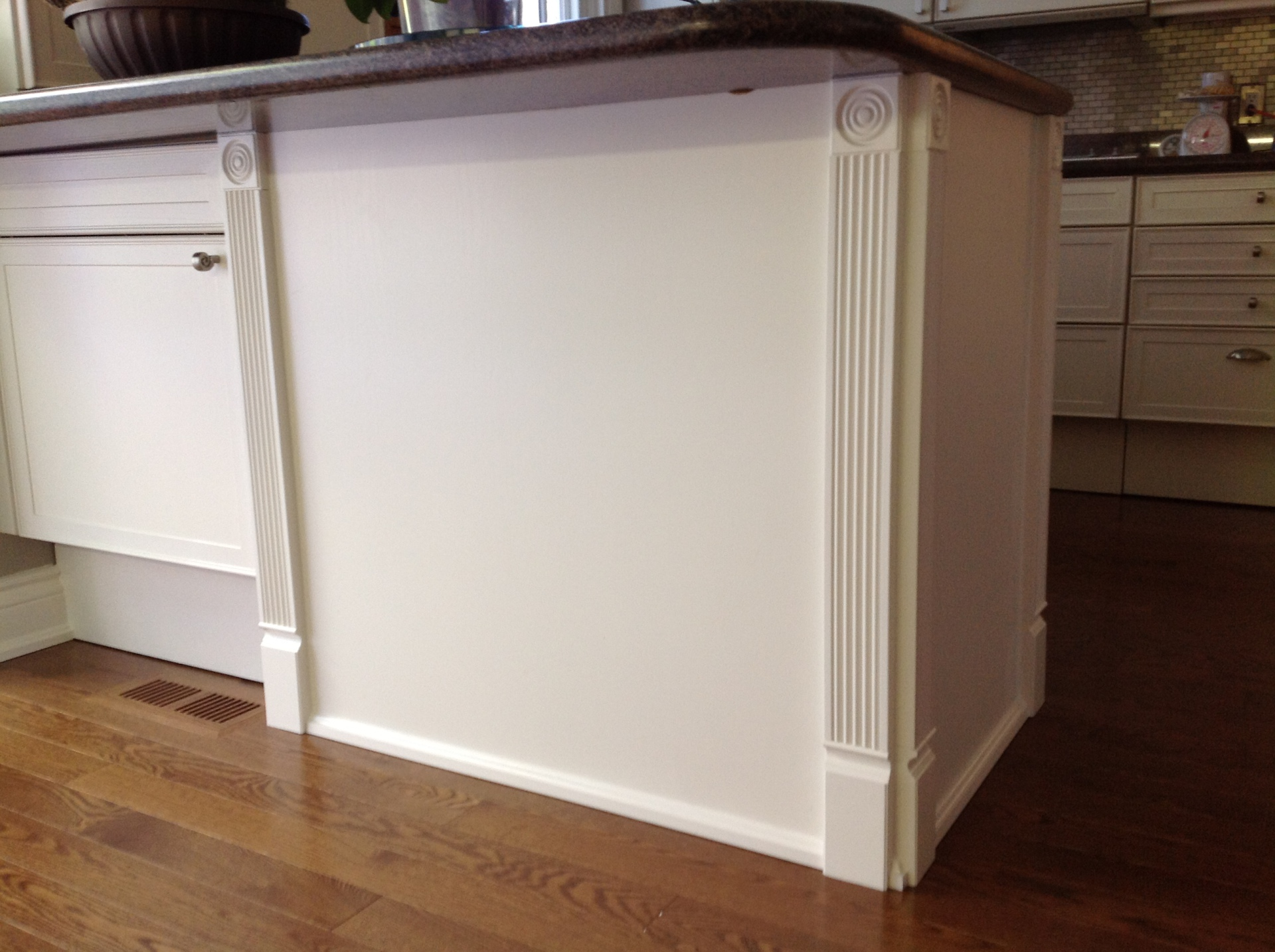 Fluted Trim added to cabinet