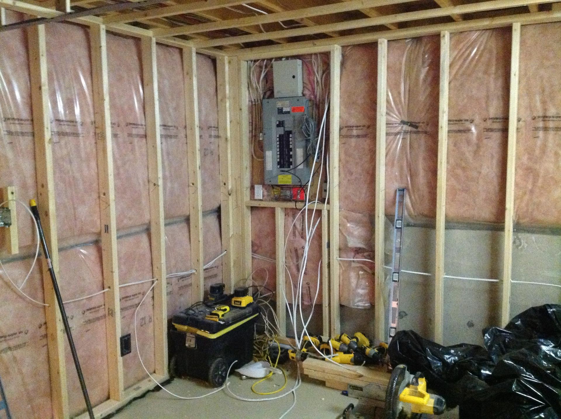 Framing for utility room in basement