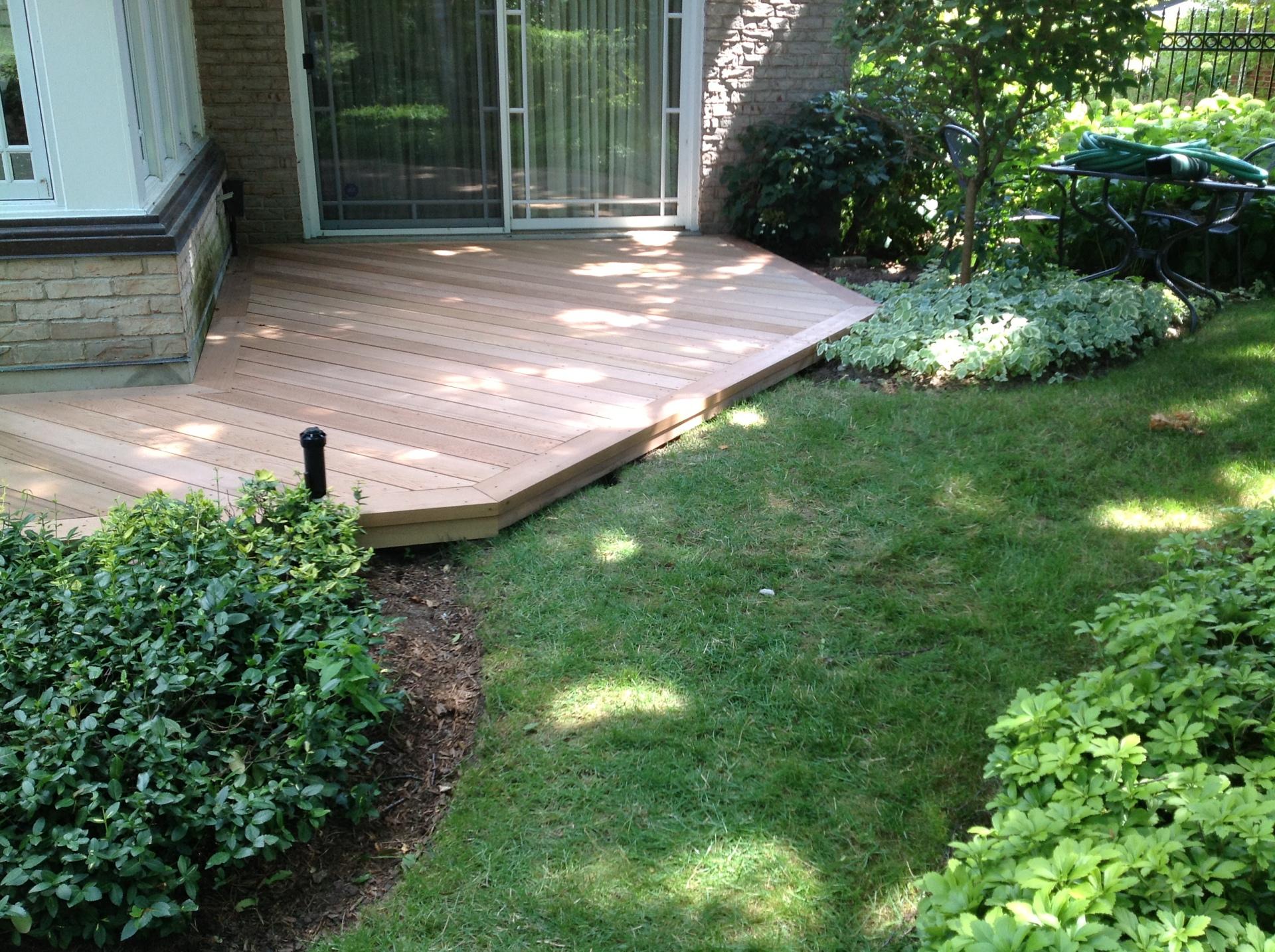 Cedar deck on angle