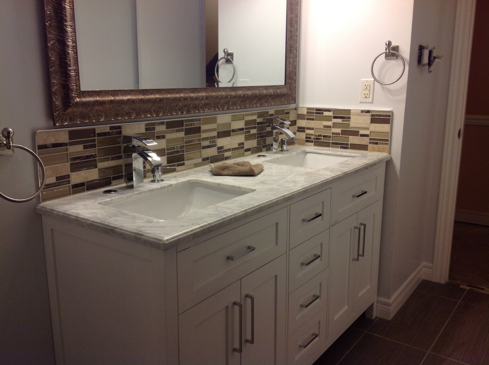 Bathroom vanity with back splash travertine, glass, marble