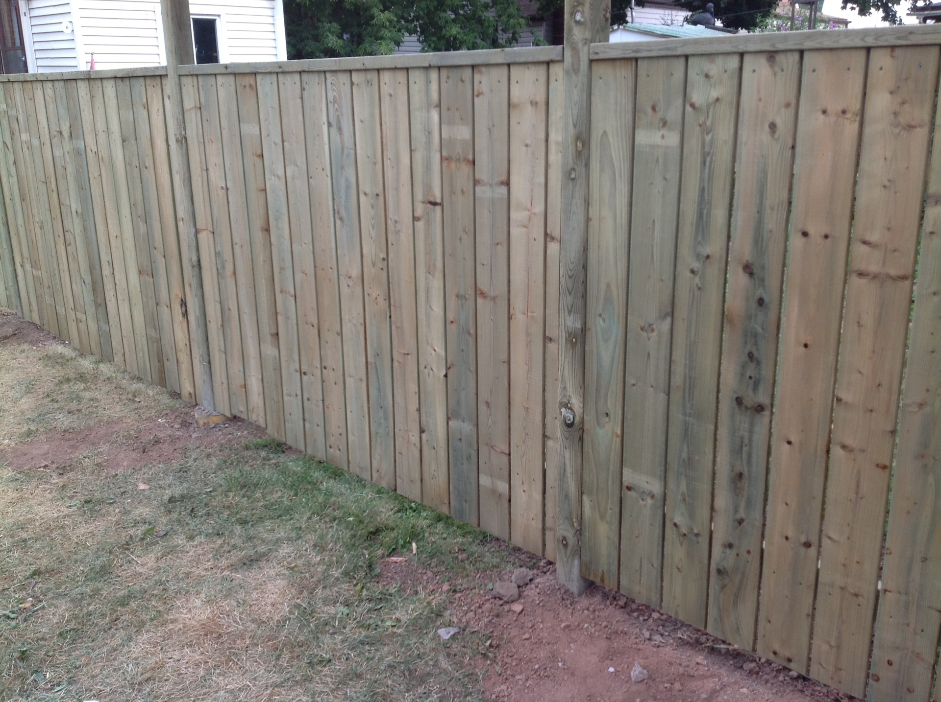 fence with pressure treated wood
