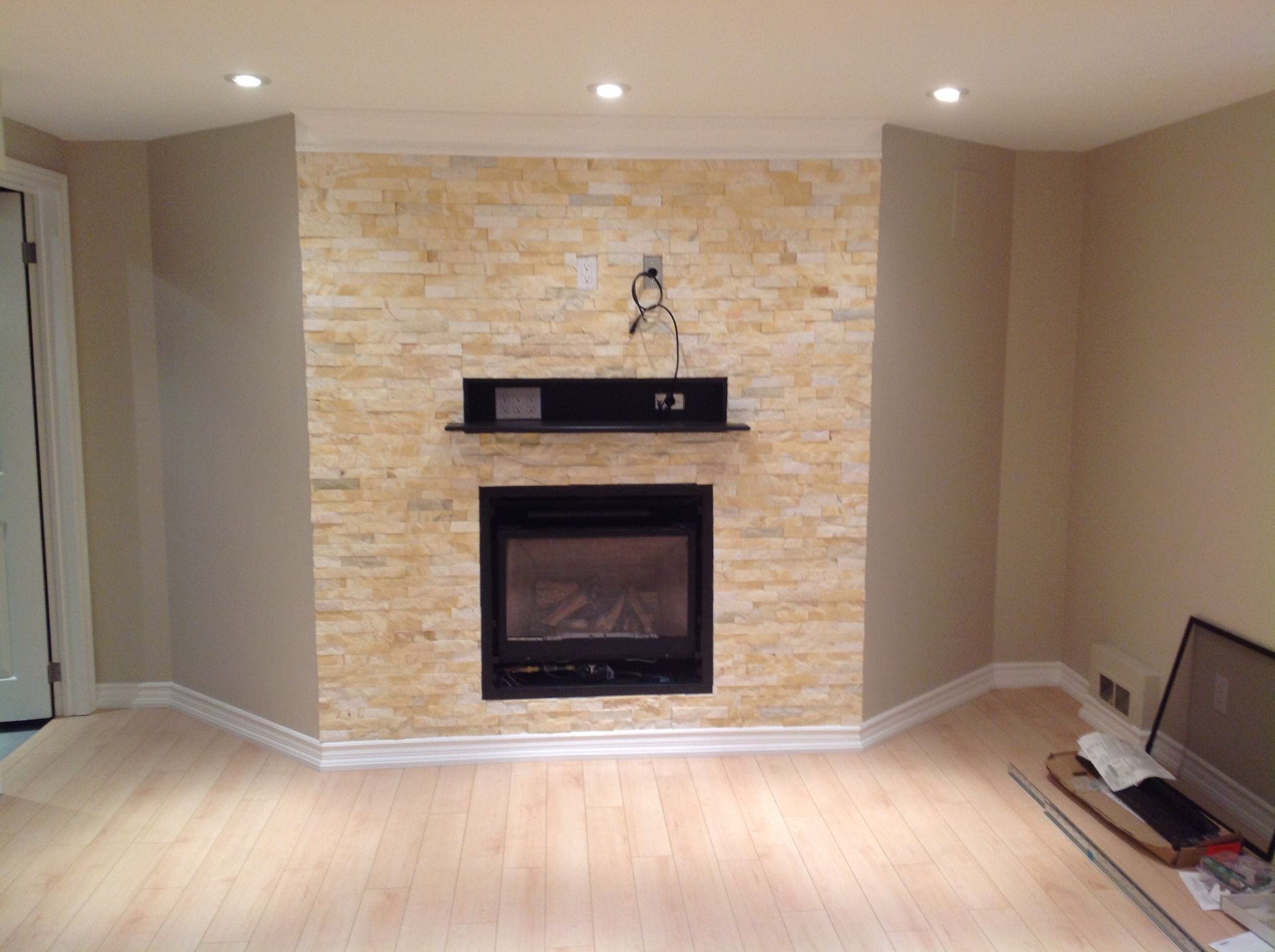 Fireplace with mounted tv area