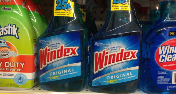 Cleaners on shelves.