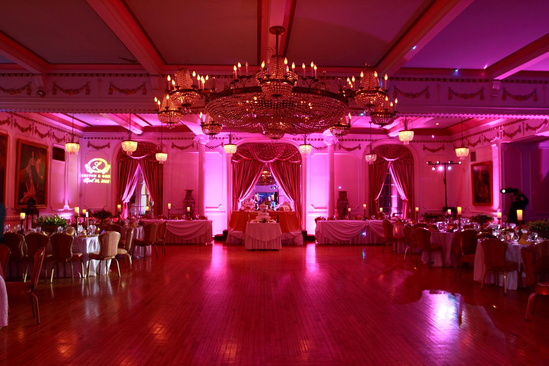 Wedding uplifting, grand prospect ballroom, follow spot lighting