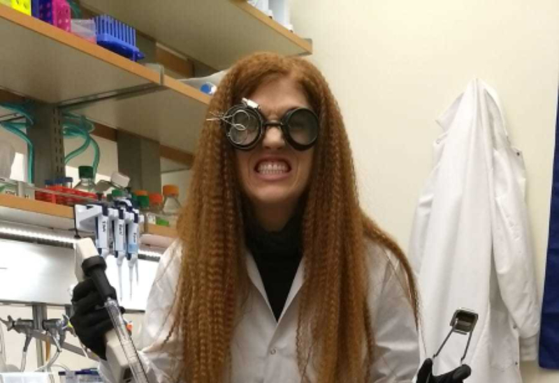 Audrey Watson wins BioFrontiers best individual Halloween costume: Mad Scientist