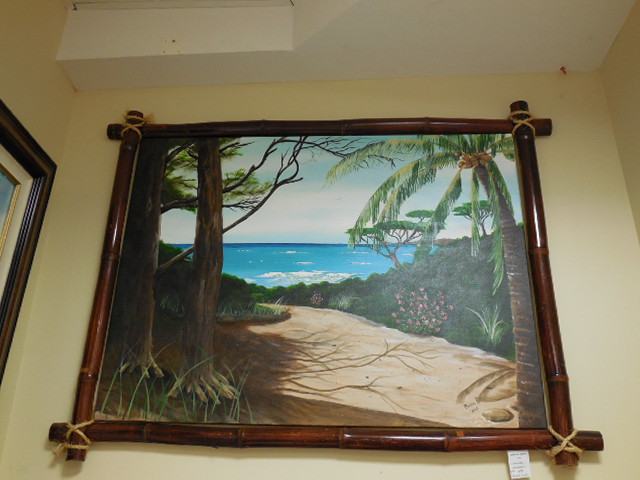 """hawaii art""; ""bamboo frame""; ""sea scape"""