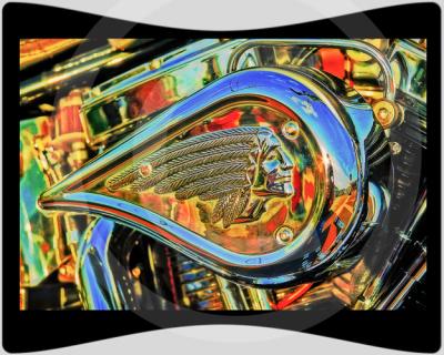 """LKPhipps; """"car art""""; motorcycle; vtwin; biker; print; metallic; framed; art"""