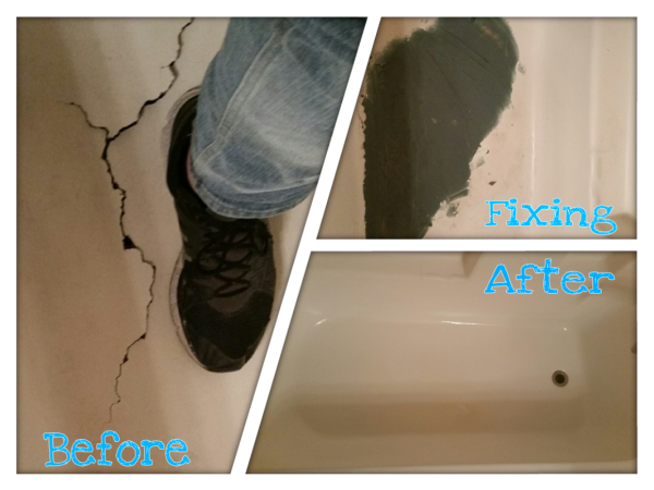 Big crack in the tub repaired