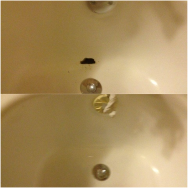 Hole in tub - Repaired!