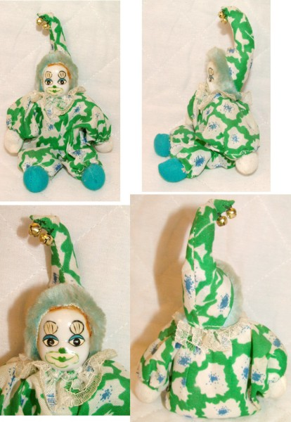 Clown, Doll, Toy, Model, Figurine, Green Clown, Paperweight, Collectibles, Jester, Harlequin, Fool
