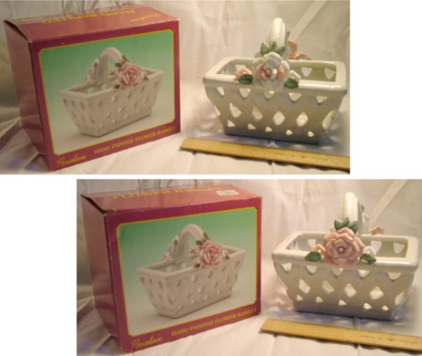 Porcelain Flower Basket, Decoration, Pen Holder, Basket, Candy Dish,  Ceramic flower dish, Flower pot