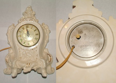 Electric Clock, Mantle Clock, Porcelain Clock, Ceramic Clock, Victorian Era Style Clock, Analog Clock, Decorative Clock, White and Gold Clock