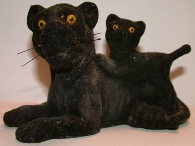 Figurines, Black Panther with cub, big cats, animal models, collectibles, novelty toys, black cat, panther cub,