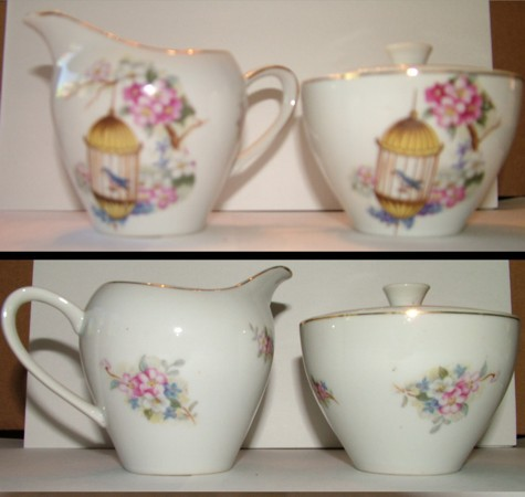 Tea Set, Cream and Sugar, Porcelain Pitcher, Porcelain Sugar Bowl