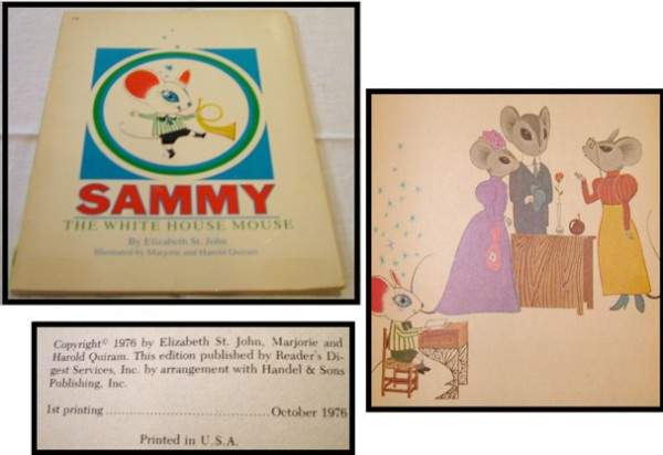 Sammy the White House Mouse, Children's Books, 1976, Elizabeth St. John