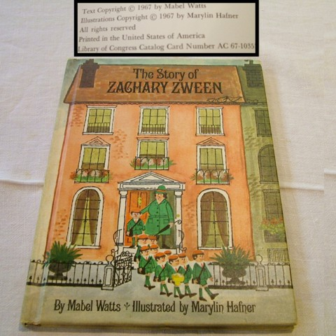 1967, The Story of Zachary Zween, Children's Books, Alphabetical Order, Last in Line, Mabel Watts, Marylin Hafner, Parents' Magazine Press,