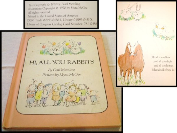 Hi, All You Rabbits, Children's Books, Carl Memling, Myra McGee, 1970,