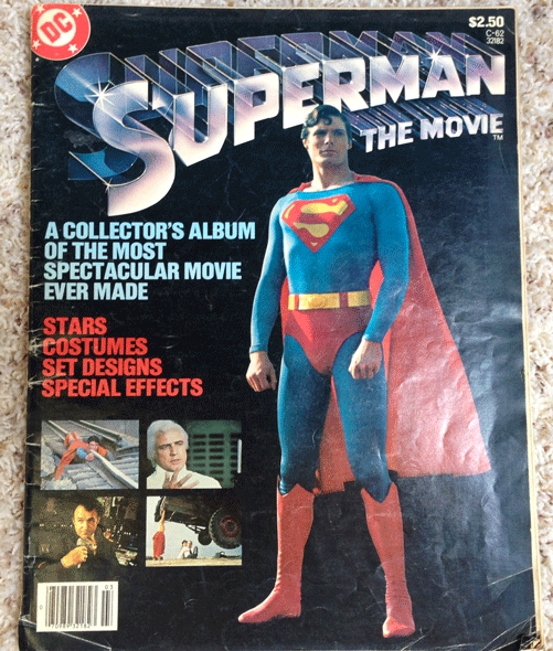 DC Comics, Superman, 1979 Superman The Movie Magazine, Marlon Brando, Gene Hackman, Christopher Reeve, Margot Kidder, Ned Beatty, Jackie Cooper, Glenn Ford, Trevor Howard, Valerie Perrine, Maria Schell, Terence Stamp, Phyllis Thaxter, Susannah York, Production Designer John Barry, Costume Designer Yvonne Blake, and Composer John Williams.