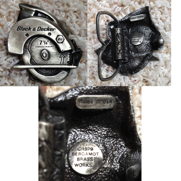 Black and Decker, 1979, Made in the USA, Bergamot Brass Works, Belt Buckle, 7 1/4 Combination Blade, Table Saw,