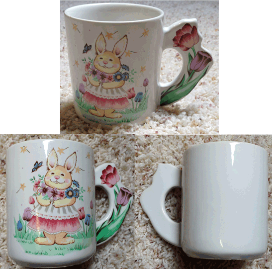 Coffee Mug, Tea Cup, Tulips, Flowers, Rabbit in Apron, Spring, Easter,