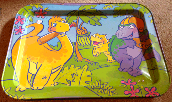 Child's Bed Tray, Breakfast in Bed, Dinosaurs, Cartoon dinosaurs, Sports dinosaurs, Metal Lap Tray,